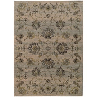 Heritage Floral Traditional Ivory/ Blue Rug (6'7 X 9'6)