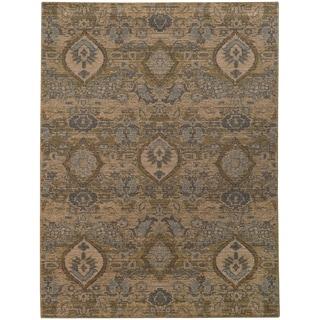 Heritage Floral Ikat Ivory/ Blue Rug (5'3 X 7'6)