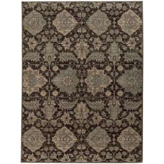 Heritage Arbrush Ikat Charcoal/ Blue Rug (7'10 X 10'10)