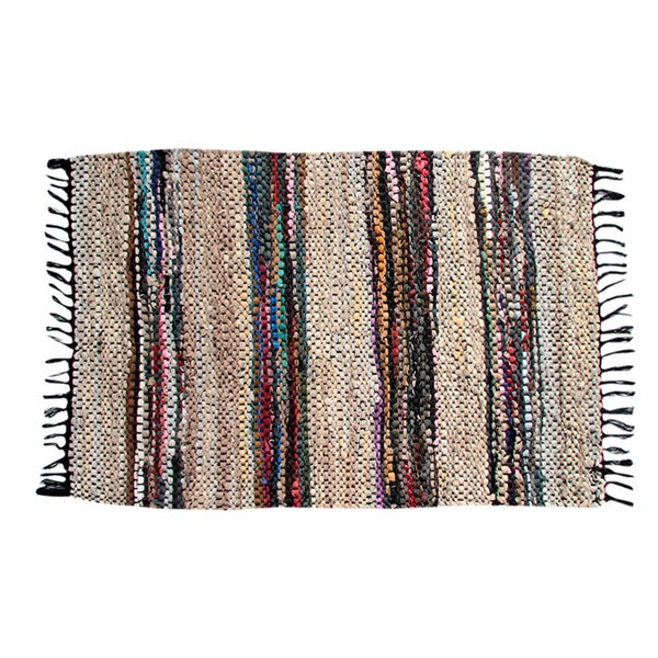 Hand-woven Broadway Collection Beige Leather Rug (1'10 x 5')