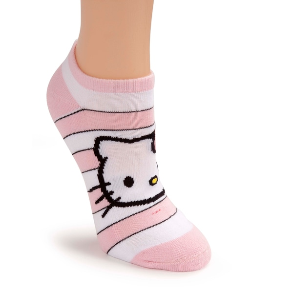 Hello Kitty Women's Pink Terry Bottom Striped Sports Socks