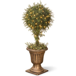 36-inch Mini Tea Leaf 1-Ball Topiary in Urn with 100 Clear Lights