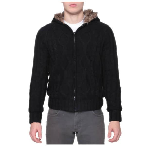 Men's Warm Faux Fur Zip Cable Cardigan Hoodie