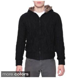 Men's Warm Faux Fur Zip Cable Cardigan Hoodie