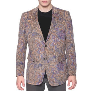 Men's Printed Brown Paisley Corduroy Blazer