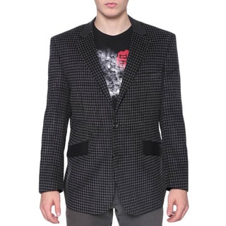 Men's Grey/ Black Houndstooth PU Trimmed Blazer