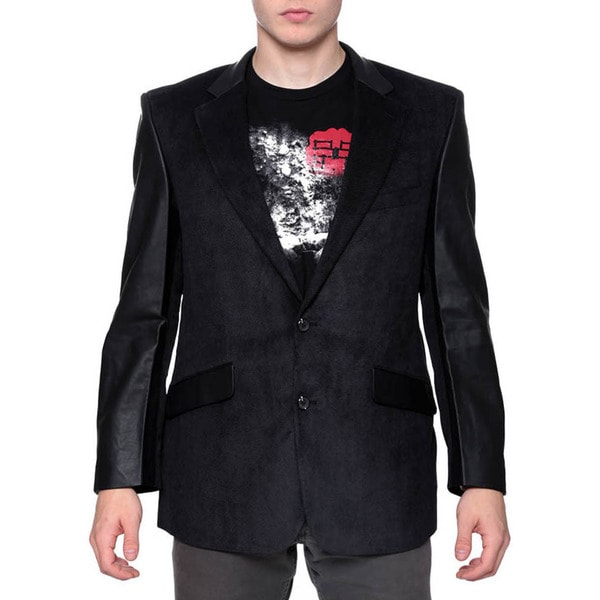 Men's Black Mixed Media Faux Leather Blazer