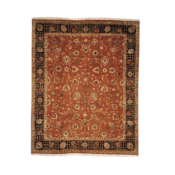 Antiqued Tabriz Browns Hand-knotted Wool Area Rug (8' x 9'10)