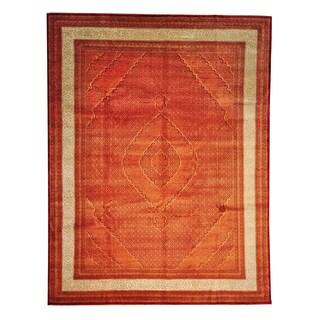 Tabriz Mahi Lori Buft Tone On Tone Wool and Silk Area Rug (9'10 x 13')