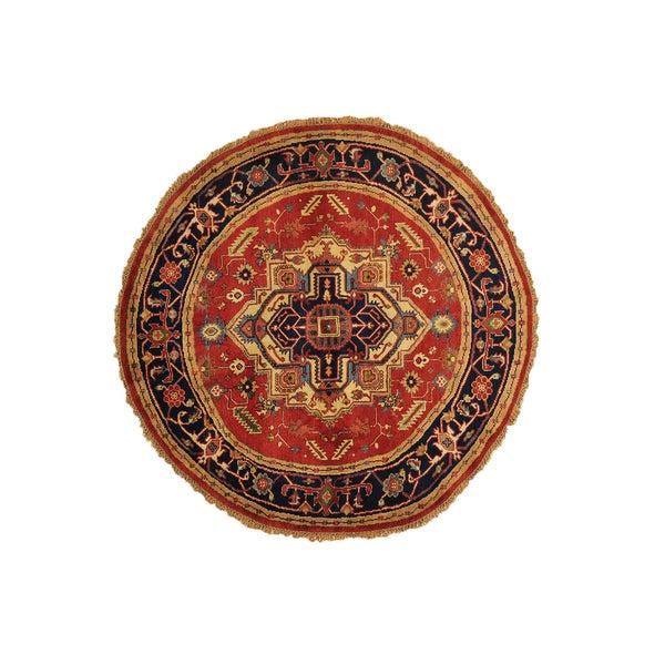 Medallion Design Serapi Heriz Round Wool Area Rug (6'3 x 6'3) 14673989