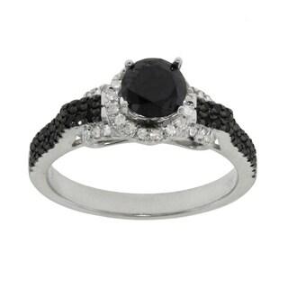 10k White Gold 0.95ct TDW Black and White Diamond Ring (G-H, I2-I3)