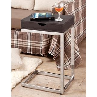 Dark Cappuccino Snack Table with Storage Top
