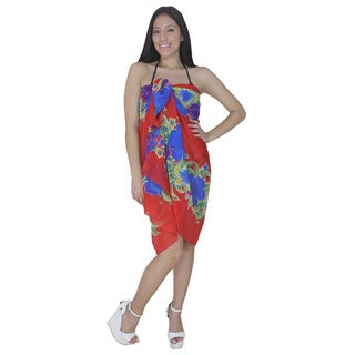 La Leela Floral Printed Red Color Swim Beach Tunic