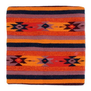 Handcrafted Wool Cotton 'Zapotec Stars' Cushion Cover (Mexico)