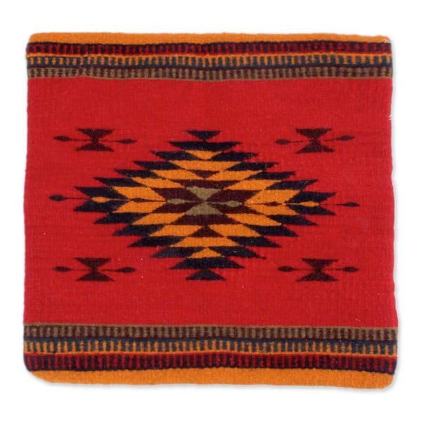 Handcrafted Wool 'Sun of Oaxaca' Cushion Cover (Mexico)