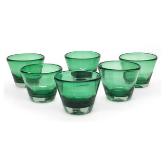 Set of 6 Handcrafted Blown Glass 'Jade Flair' Juice Glasses (Mexico)