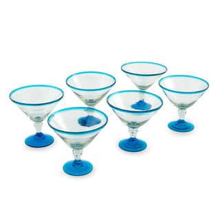 Set of 6 Handcrafted Blown Glass Martini 'Azure Joy' Glasses (Mexico)