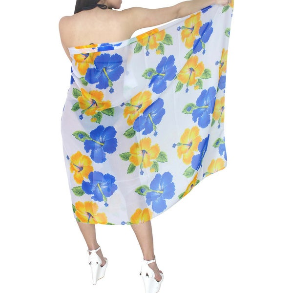 La Leela Hibiscus Sarong Cover-up White and Yellow