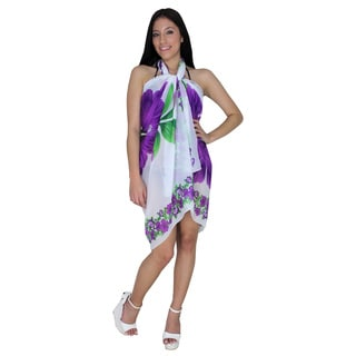 La Leela Lightweight Chiffon Sheer Swim Hawaiian Sarong Coverup 72X42 In Purple