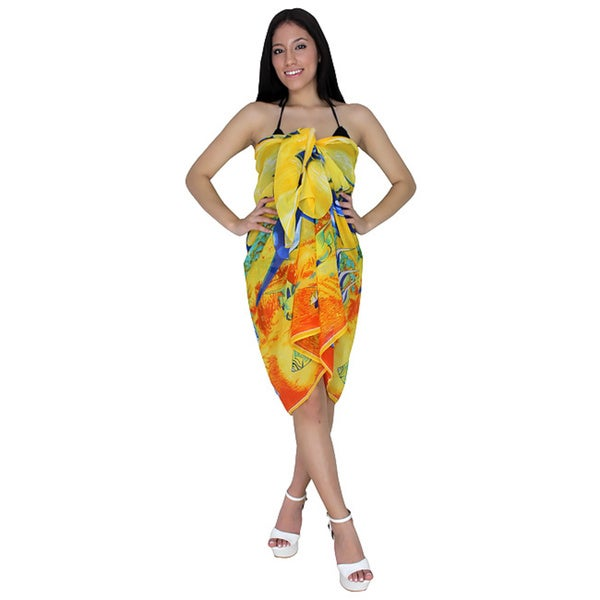 La Leela Sheer Chiffon Dolphin Printed Beach Swim Cover up Sarong Yellow