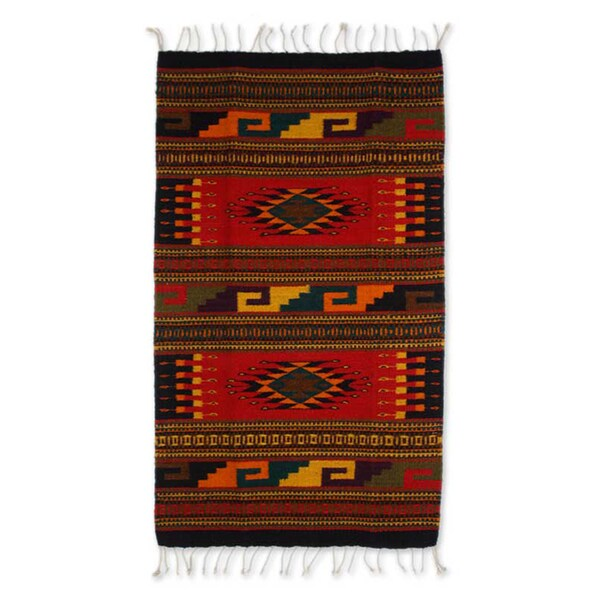 Handcrafted Zapotec Wool 'Our Traditions' Rug (2x3'5