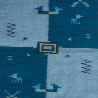 Handcrafted Zapotec Wool 'Indigo Illusions' Rug (2 feet x 3.5 feet) (Mexico)