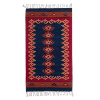 Handcrafted Zapotec Wool 'Seashell Fiesta' Rug (2.5x5) (Mexico)