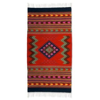 Handcrafted Wool 'Zapotec Passion' Rug (2'5x5) (Mexico)