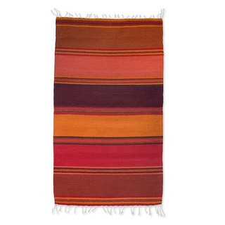 Handcrafted Zapotec Wool 'Teotitlan Dusk' Rug (2x3) (Mexico)
