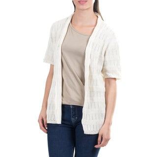 Handcrafted Cotton 'Casual Cream' Cardigan Sweater (Guatemala)