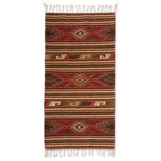 Handcrafted Zapotec Wool 'Blossoming Diamonds' Rug (2'5x5) (Mexico)