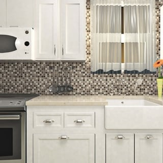 SomerTile 17.75x17.75-inch Celestial Grey Glass Mosaic Tile (Case of 17)