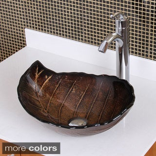 Elite Fall/ 882002 Tempered Glass Leaf Design Bathroom Vessel Sink and Faucet