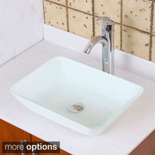 Elite 1422+882002 White Rectangle Tempered Glass Bathroom Vessel Sink with Faucet