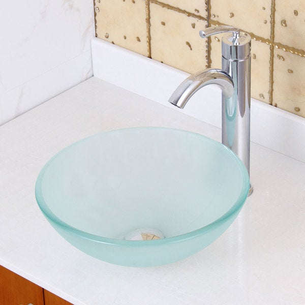 ... +882002 Small Frosted Tempered Glass Bathroom Vessel Sink with Faucet