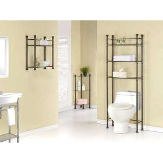 Bronze Metal Tempered Glass Corner Etagere