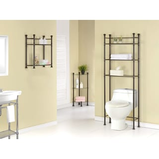 Bronze Metal Tempered Glass Bathroom Space Saver Cabinet