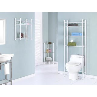 White Metal Tempered Glass Bathroom Space Saver