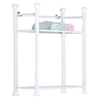 26-inch White Metal Tempered Glass Wall Mount Shelf