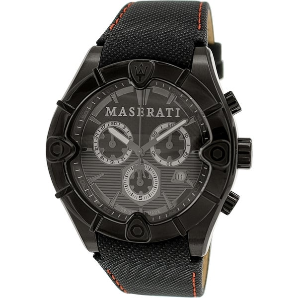 Maserati Men's Meccanica R8871611002 Black Leather Swiss Chronograph Watch
