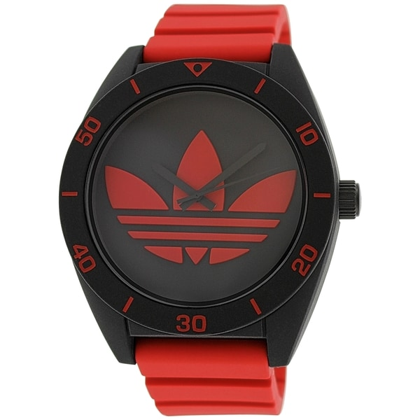 Adidas Men's Santiago Black and Red Rubber Quartz Watch