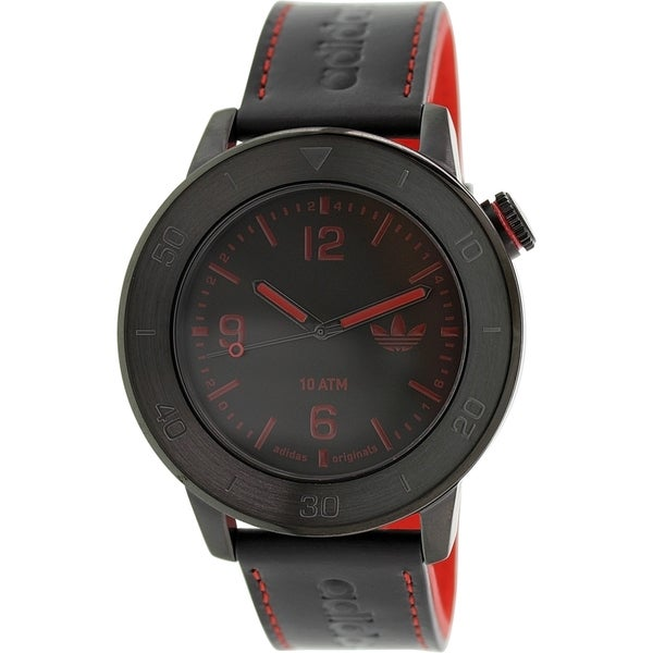 Adidas Men's Manchester Black Leather Quartz Watch