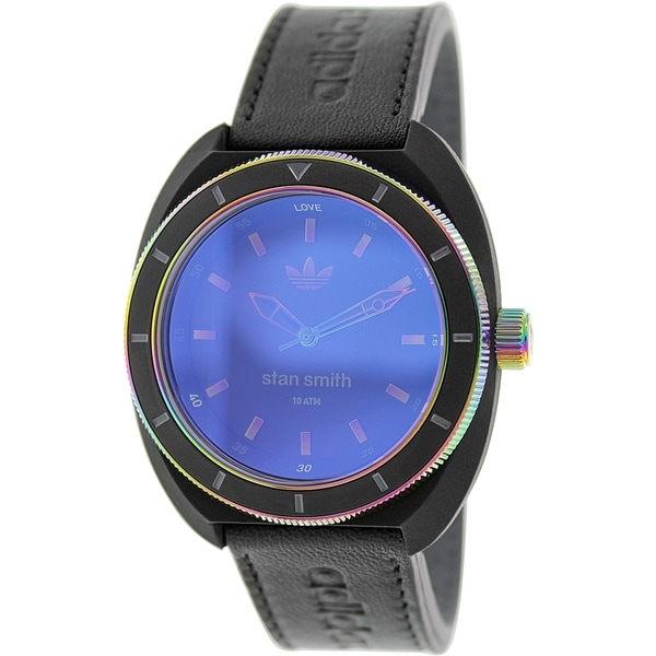 Adidas Men's Stan Smith Black Leather/ Blue Dial Quartz Watch