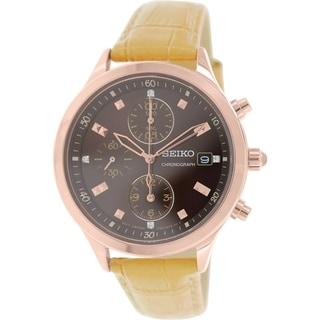 Seiko Women's SNDX04 Gold Leather Quartz Watch