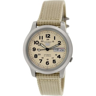 Seiko Men's 5 Automatic SNKN27K Beige Nylon Automatic Watch