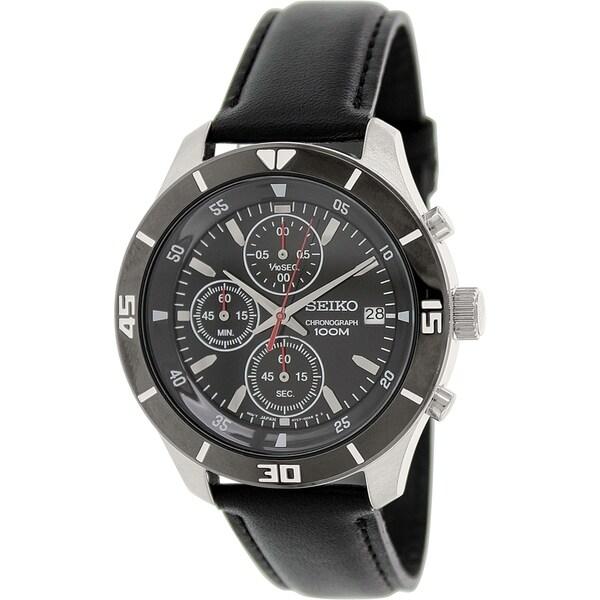 Seiko Men's SKS405P2 Black Leather Quartz Watch