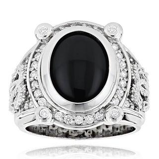 14k Gold Men's 5/8ct TDW Diamond and Black Onyx Ring