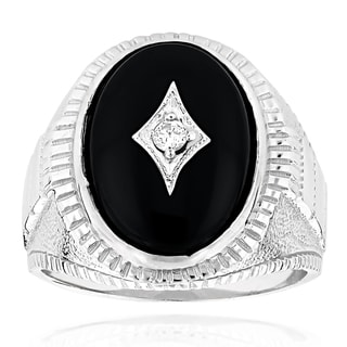 Men's 14k White Gold Black Onyx and 1/10ct TDW Diamond Ring (H-I, SI1-SI2)