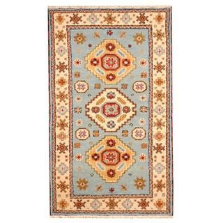 Herat Oriental Indo Hand-knotted Tribal Kazak Light Blue/ Ivory Wool Rug (3'1 x 5'1)