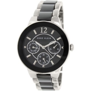 Anne Klein Women's AK-1629BKSV Black Ceramic Quartz Watch